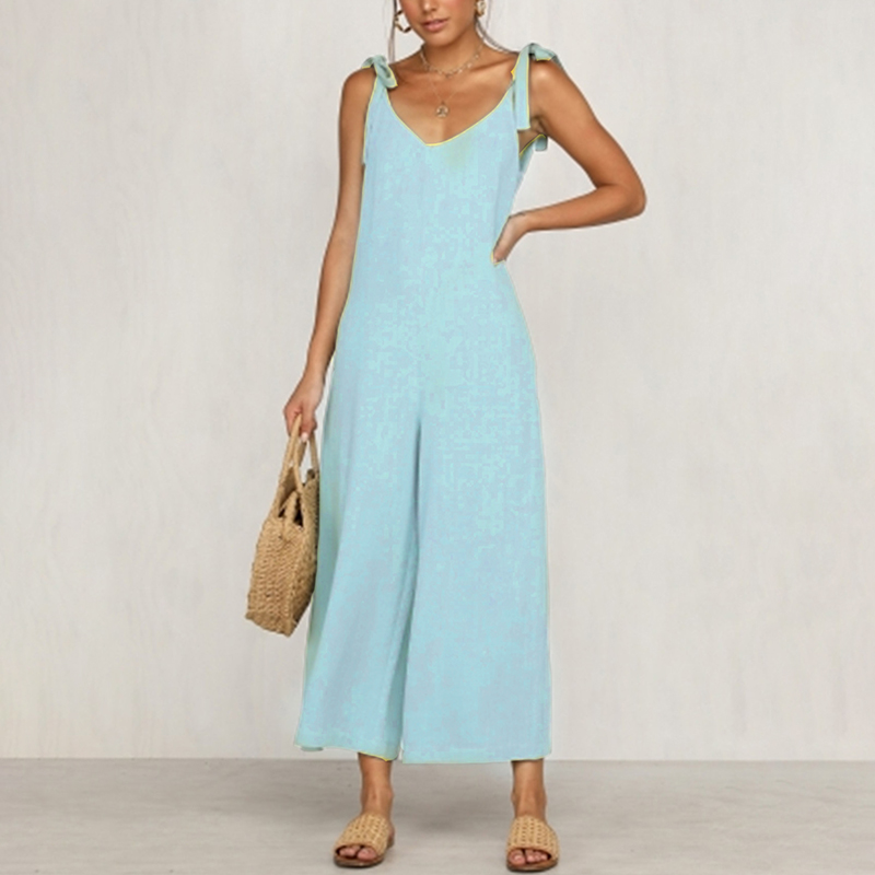 Conmoto Lace Up Shoulder Women   Jumpsuits   Solid Casual Summer Beach   Jumpsuit   Rompers Backless Sexy Long Rompers