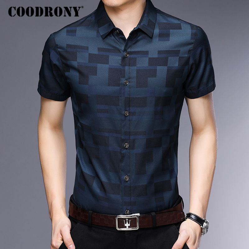 COODRONY Short Sleeve Shirt Men Clothes 2019 Summer Mens Shirts Casual Slim Fit Plaid Camisa Masculina Cotton Chemise Homme 8701 3