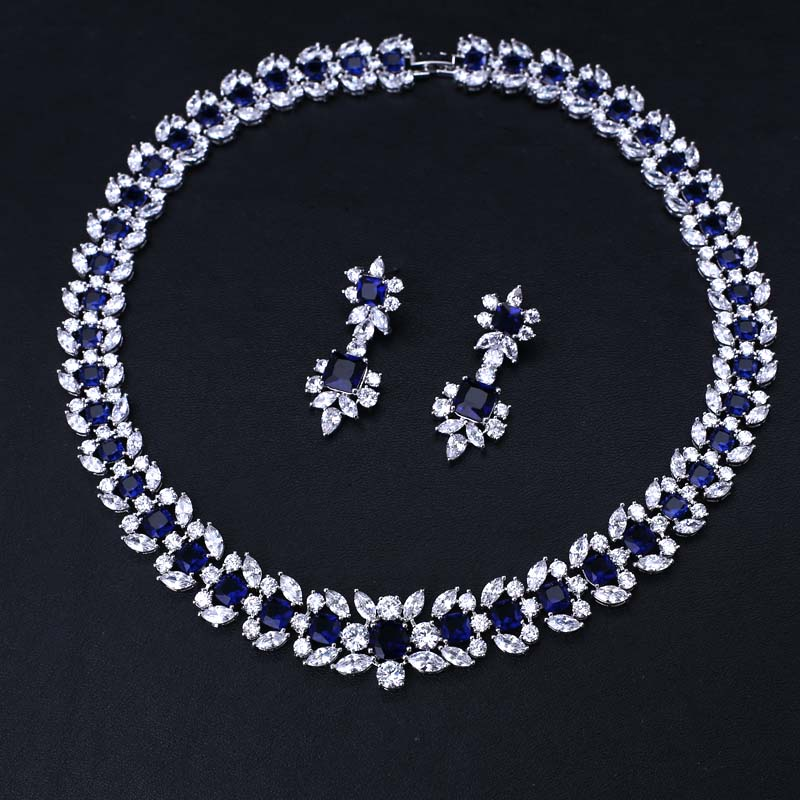 Luxury white gold-color Jewelry Sets Exquisite Square Shape Micro Inlay Small Stone Cubic Zirconia Crystal letter b shape rhinestone inlay hairclip