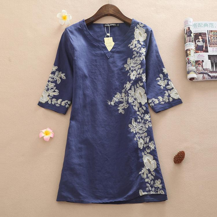 2e259c5d77 Plus Size High Quality Summer Dress 2015 New Fashion Casual Short Sleeve  Broadcloth Linen Embroidery Women Dresses M~XXL NL13-in Dresses from Women s  ...