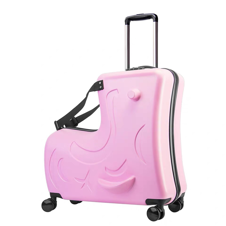 Детский Багаж на колесиках, чемодан на колесиках, детская дорожная сумка с колесиками - Цвет: pink