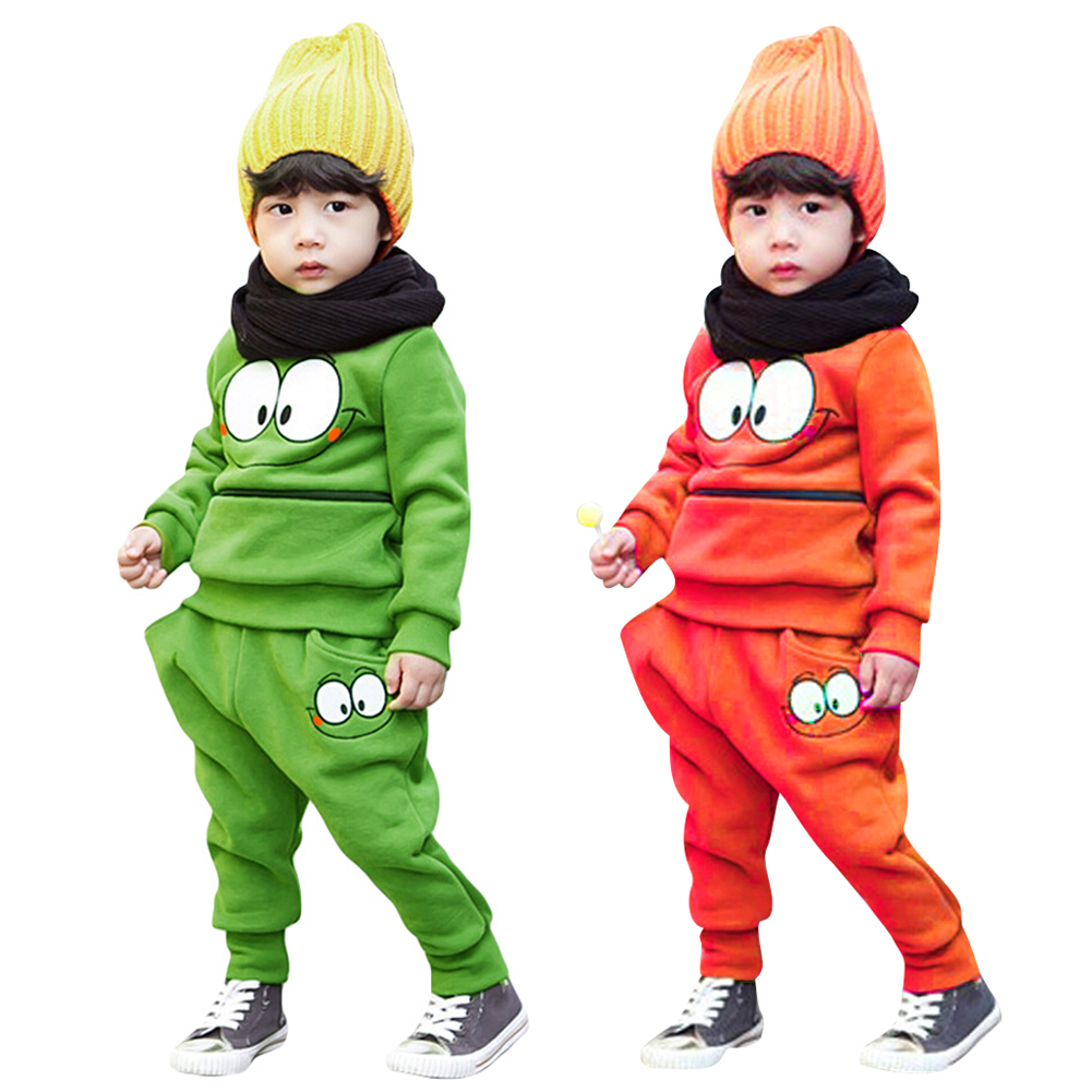 2pcs Baby Clothes Winter Suits Cartoon Funny Face Top+Harem Pant Body suit Kids Monster Big Eye Children Clothing Set sutton studio womens 2 pcs quilted pant suit
