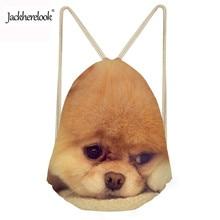 Jackherelook Lovely Animal Pomeranians Printed Backpack New Fashion Women Drawstring Bags Travel Beach Sport Girls Shoulder Bags