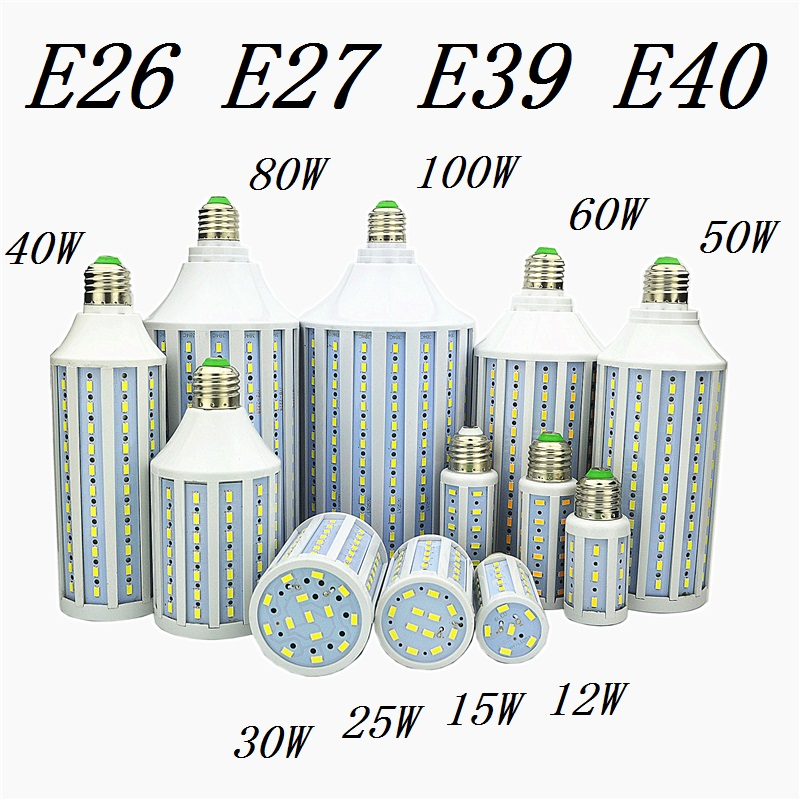 LED Bulb Lamp E27 E26 E39 E40 5730 Corn Spot Light 12W 15W 25W 30W 40W 50W 60W 80W 100W Lampada 110V 220V Cold Warm White Lights high power aluminum 5730 smd led corn bulb 85 265v e27 15w 20w 30w 40w 50w 60w 80w led lamp warm cold white free shipping 1pcs