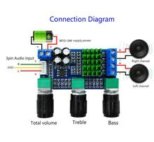 DC 12V 24V 80W x 2 Dual channel Digital Audio TPA3116D2 Treble Bass Regulating Preset Pre amplifier Board