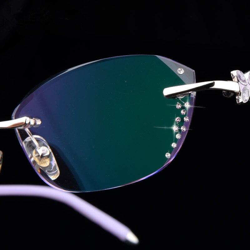 Purpurrot Fertig Lesebrille 44 Weibliche Rezept Benutzerdefinierte Ultraleicht Brillengläser Modelle Schneiden Randlose Brille qRw6P1