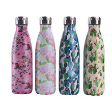 Floral Cactus BPA free Water Bottle Coffee Thermos Stainless Steel Beer Tea Drink Bottle Travel Sport Gym Insulated Cup Gift
