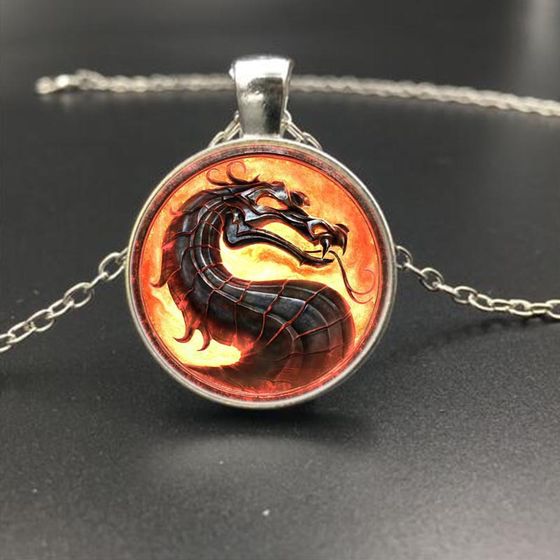 Great Mortal Kombat Keychain Necklace Metal Keyring Pendant Figure Toy