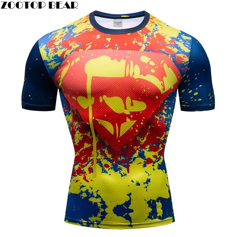 The superman T shirt Crossfit Super Hero Men T shirt Graffiti 3D Shirts Fitness Compression Fitness Breathable Bodybuilding Male