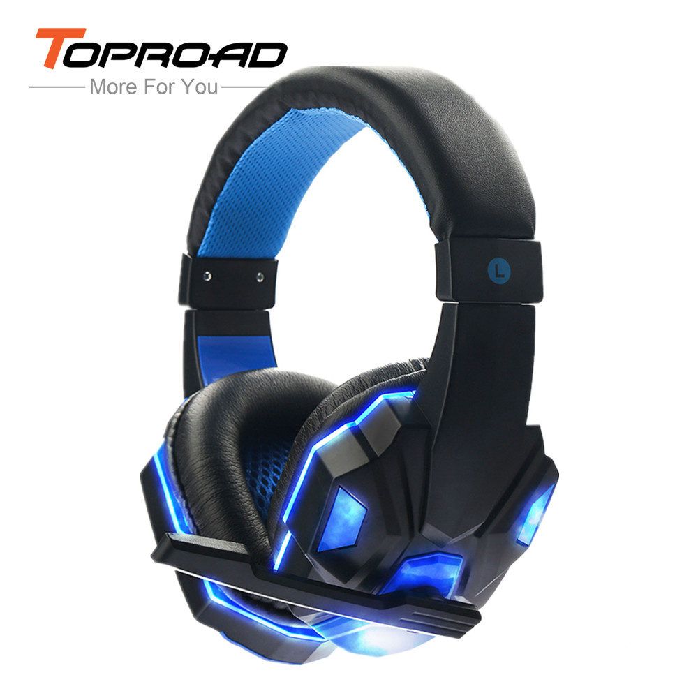 TOPROAD SY830MV Deep Bass Game Headphone Stereo Over-Ear Gaming Headset Headband Earphone With Light For Computer PC Gamer