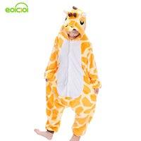 EOICIOI New Flannel Children Boys Girls Pajamas Winter Warm Animal Giraffe Pyjamas Kids Onesie Sleepwear Infantil