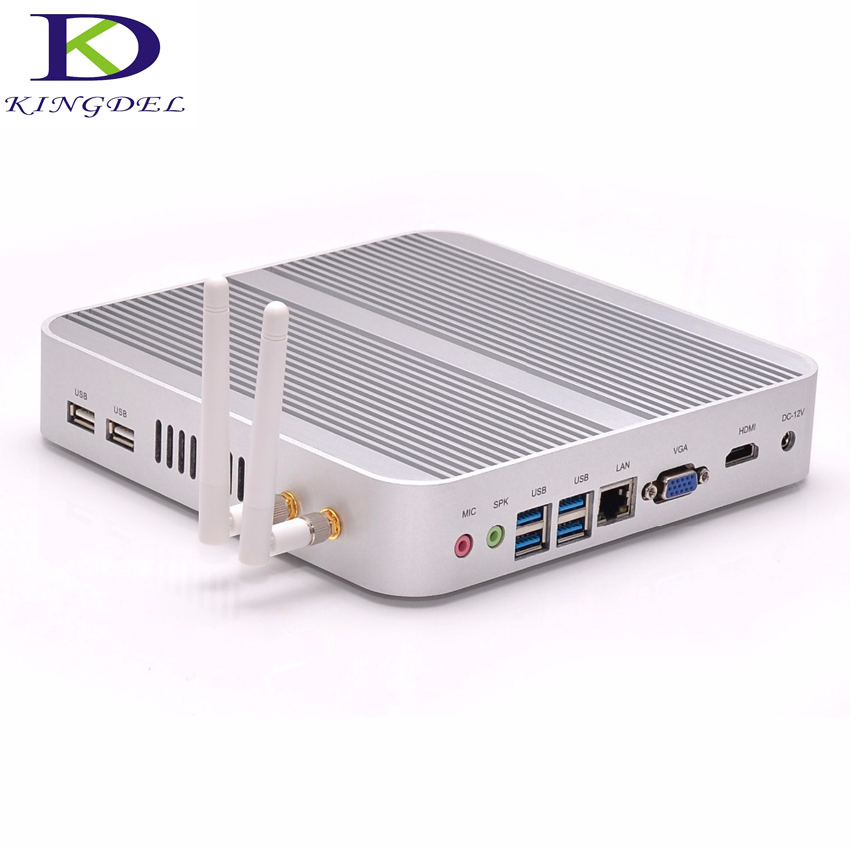 2016 Newest Kingdel Fanless Intel I3-5005U Mini PC HTPC 4GB RAM USB 3.0 WiFi HDMI Blue-ray DirectX 11 Support RS232 Optional