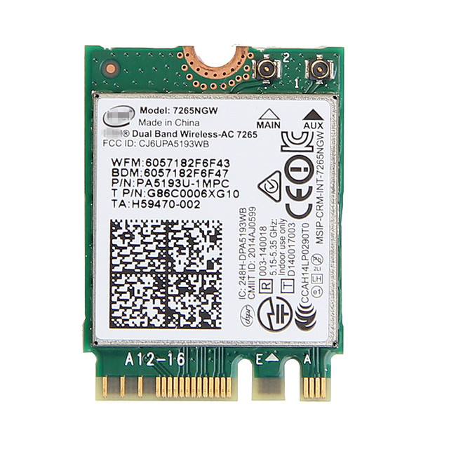 Новый Для Intel Dual band Wireless-AC 7265 7265NGW 802.11ac 2x2 Wi-Fi + Bluetooth 4.0 867 Мбит NGFF карты лучше, чем intel 7260