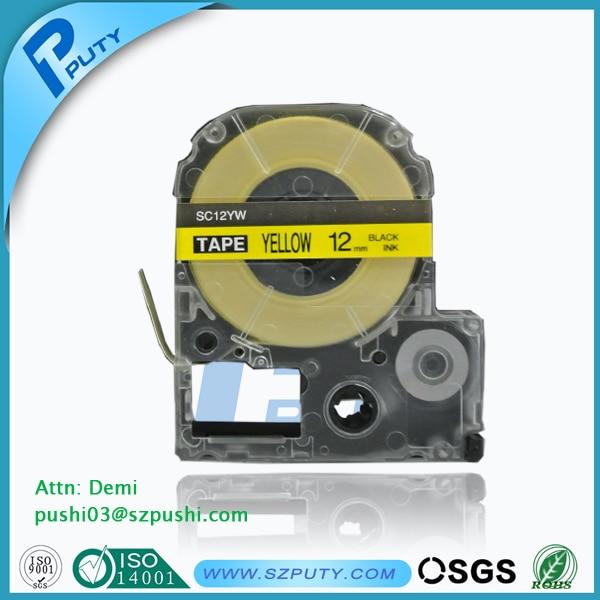 c065ae7d7 Lc-4ybw sc12yw-1 2   preto no amarelo kingjim epson fita cassete rótulo