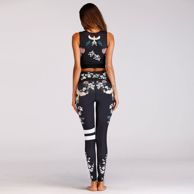 Women's Floral Print Yoga Padded Crop Top and Leggings Set  2 Styles S-L