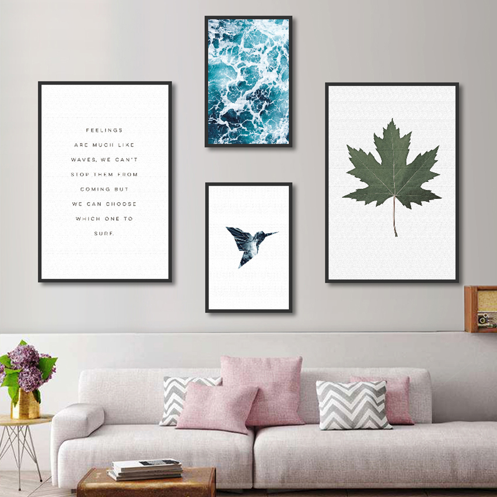 Wall Picture Home Decor Canvas Decoration For Living Room Canvas Painting Wall Art Picture Print On Seawater Bird Letter Poster 1
