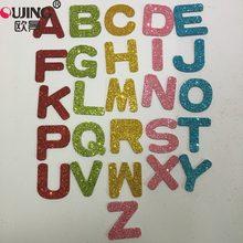 52 шт./компл. 3D блестящие красочные 26 дюймов наклейки на стену с английским алфавитом для детей наклейки на стену английские буквы искусство ...