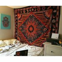 Celestial Sun Moon Stars Planet Tapestry Indian Hippie Wall Hanging Tapestry Bohemian Bedspread Mandala Dorm Decor Beach Blanket