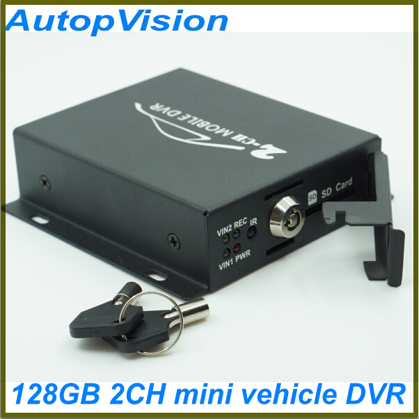 ФОТО Bus Vehicle Security DVR with Alarm Motion Detective 24 Hours Monitor Support SD Card Upto 128GB Remote Control 2CH Mobile DVR