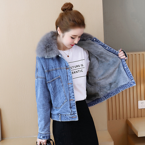 Long Short Winter 1 Warm Women Faux 2 Liner Jeans Harajuku Outerwear Jacket 2018 Autumn Sleeved Woman Lambs New Denim Casaco qBCxzwfZ