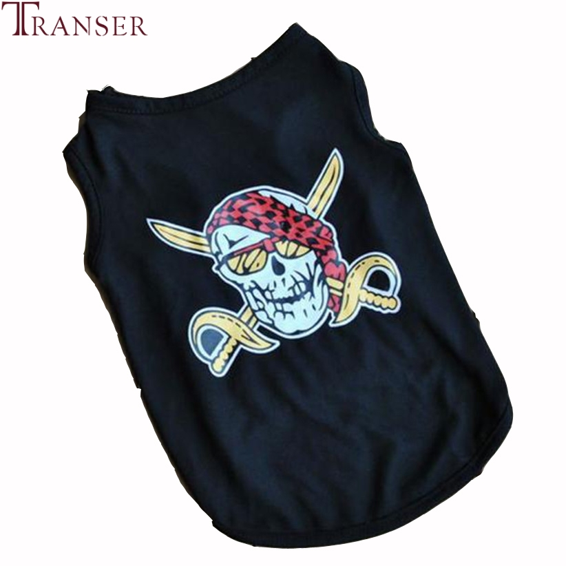 Transer Pet Dog Clothes For Small Dogs Summer Sleeveless Pirate Print Black Dog Vest T Shirt 80118