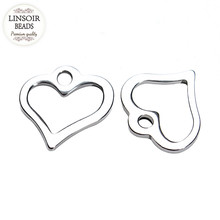 100pcs/lot Stainless Steel 11*11mm Silver Heart Charms For Jewelry Making Floating Charms Pendant For Necklace Bracelet F3597(China)