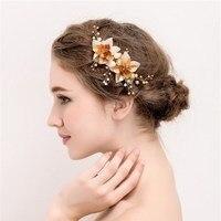 LIN STUDIO Rhinestone Crystal Wedding Hair Accessories Flower Bridal Hair Pins Charm Hair Clips For Women