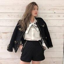 53943e6e37785c ZAWFL Nero/bianco giacca di tweed + Shorts vestito in rilievo pesante 2019  autunno/inverno giacca di lana delle donne delle sign.