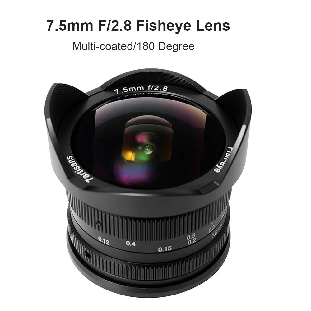 7artisans 7.5mm F/2.8 Fisheye Lens 180 Degree Angle for Sony E Mount A6500 A7 II/ Micro 4/3 Camera GH4 GH5 E-PL7/ Fuji X-T2 X-A3 image