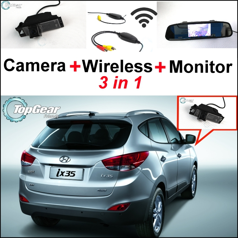 ФОТО 3 in1 Special Rear View Camera + Wireless Receiver + Mirror Monitor Easy DIY Back Up Parking System For Hyundai ix35 2009~2014