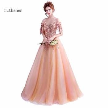 ruthshen Floor Length A Line Sexy Prom Dresses Ruffles Appliques 2018 Vestido De Festa Formal Evening Party Dress For Girls 2018