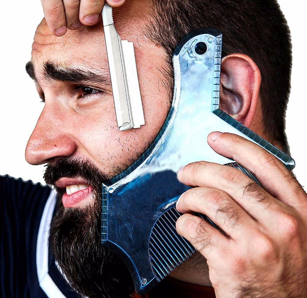 New Innovative Design Beard Shaping Tool Trimming Shaper Template Guide For Shaving Or Stencil With Full-Size Comb For Line Up