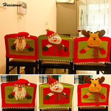 Huxiaomei Christmas Stereo Chair Cover Santa Claus Milu Deer Snowman Decoration