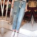 Японский мори девушка милые письма вышивка джинсы брюки свободные большой размер длинные карандаш джинсы женские осенние летние брюки