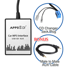 Car USB SD AUX Adapter Digital Music Changer  Mp3 Converter for Fiat Fiat 500 2007-2011(fits Select OEM Radios)