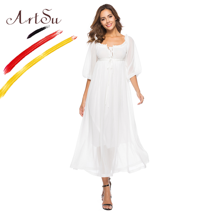 ArtSu Beach White Dress Women Sexy Slash Neck Lace Up Maxi Dress Boho Summer Loose Casual Vestidos 2018 Sweet Chiffon Dress