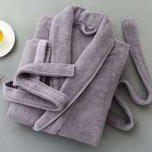 Зимний хлопковый флисовый мужской халат плотный Длинный мягкий