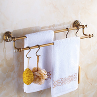 Antique Brass Crystal Towel Bar Double Layer Towel Racks Brushed Towel Holder Wall Mounted Bathroom Accessories With 4 Hooks Xs1