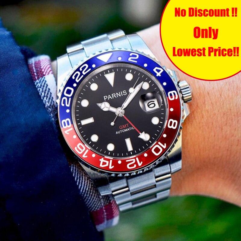 Parnis 40mm Homem Mecânico Relógios dos homens de Cristal de Safira GMT Mergulhador Relógio Automático Homens Relógio relogio masculino De Luxo Papel 2019