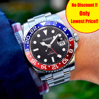 Parnis 40mm Mechanical Men's Watches GMT Sapphire Crystal Man Diver Watch Automatic relogio masculino Role Luxury Men Clock 2019