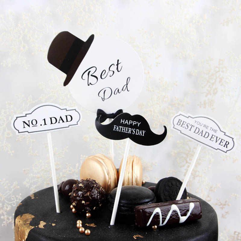 Prime 4Pcs Set White Black Best Dad Happy Birthday Cake Toppers Birthday Funny Birthday Cards Online Alyptdamsfinfo