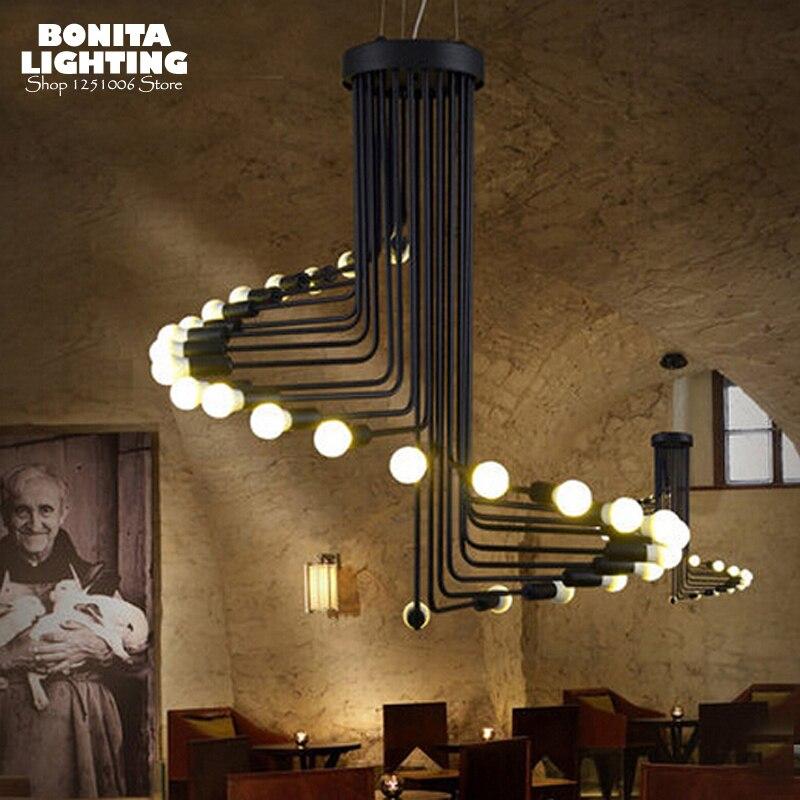 Villa Scale luci del pendente dell'annata Industria Vento Spirale lampada a sospensione luci per soffitto alto Ragno ha condotto la lampada a sospensione In Ferro