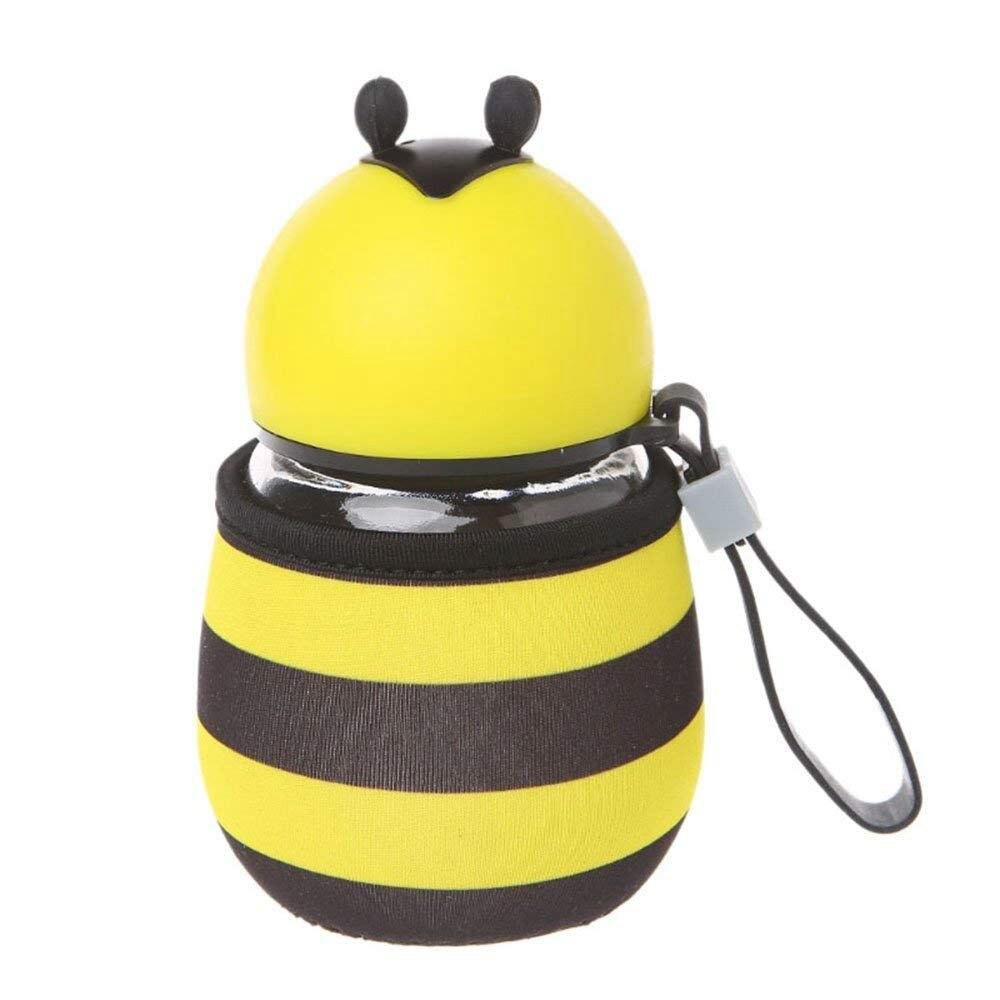 YHYS mignon abeille bouteille d'eau en verre sans BPA avec corde isolation thermique tasse ensemble pour enfants, filles 10 OZ