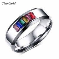 8mm Larghezza Dell'acciaio Inossidabile Arcobaleno Strass Anello Lesbiche Orgoglio Parade Anelli Amante Lesbica Orgoglio Wedding Ring SIZE 5 ~ 13 PR-1007