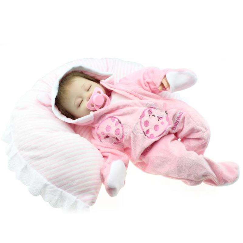 Lifelike Silicone Reborn Baby Doll Kids Playmate Birthday Gifts Simulation Soft Toys for Adult Children Doll Toy with Pillow new arrival 55cm blue eyes pink clothes lifelike baby soft girl doll with free plush toy as kids xmas gifts birthday doll toys