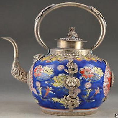 Фарфор Медь Китайский старый ручной работы Вырезка Лев Дракон Чай горшок украшения сада 100% Настоящее Тибетский серебро латунь