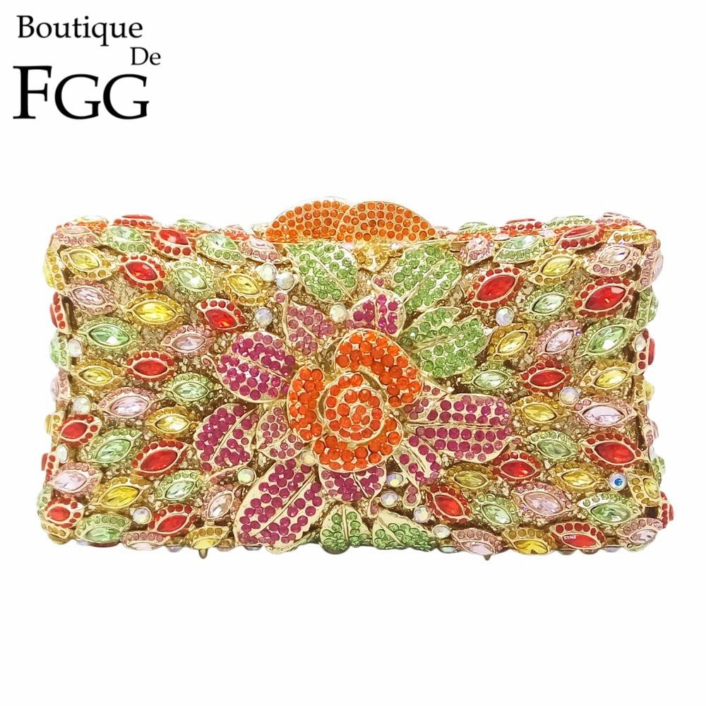 Famous Brand Ladies Multi Crystal Flower Evening Bags Women Wedding Party Prom Floral Diamond Clutch Handbag Bridal Metal Bags