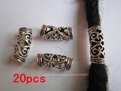 20 pçs/lote prata metal cabelo trança dreadlock dreadlock grânulos anéis tubo punhos acessórios aprox 7mm buraco
