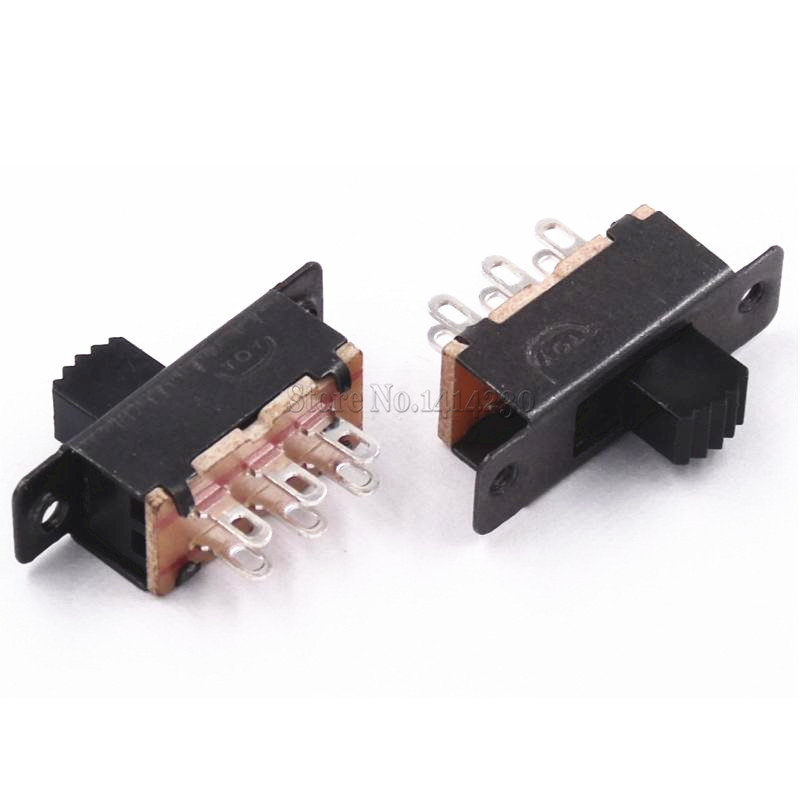 10PCS Toggle Switch 2 Position 6 Pins With Fixed Hole Handle High 5mm DPDT 2P2T Panel Mount Slide Switch 125VAC
