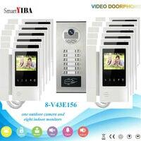 Smartyiba видео дверь домофон 4.3 дюймовый видео Дверные звонки Домофон RFID наружного блока Управление доступом 1 Камера 12 Мониторы